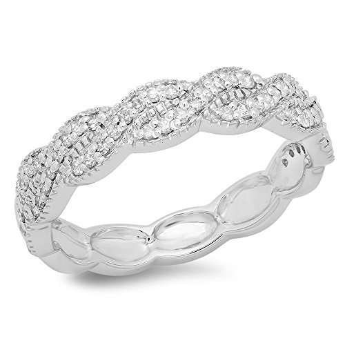 0.33 Carat (ctw) 14K Gold Round Cut Diamond Ladies Bridal Anniversary Wedding Swirl Band 1/3 CT