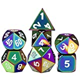 7 d free game - DNDND Solid D&D Rainbow Dice Set, 7-Die Metal Polyhedral Dice Set for Dungeons & Dragons Role Playing Game Pathfinder RPG and Math Teaching with Metal Case and Free Dice Pouch