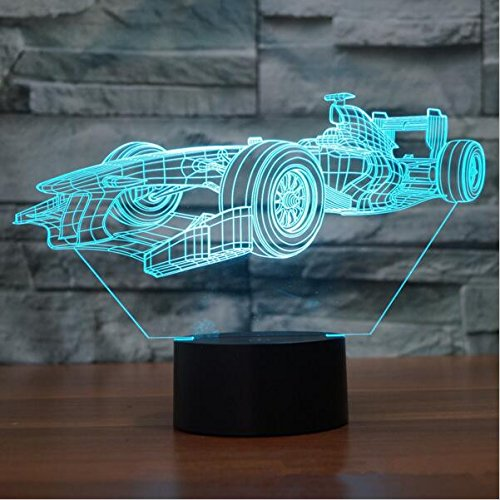 F1 Racing Shapes 3D Night Light Touch Table Desk Optical Illusion Lamps 7 Color Changing Lights Home Decoration Xmas Birthday Gift ()