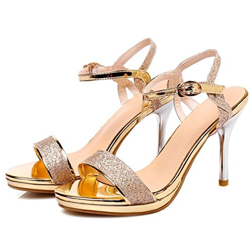 Abierta Punta Aguja Zapatos Tobillo Mujer de COOLCEPT Oro Tacon Zapatos Aguja f5294b