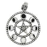 Sterling Silver Moon Phase Pentacle Pentagram Pendant; 1 Inch Diameter