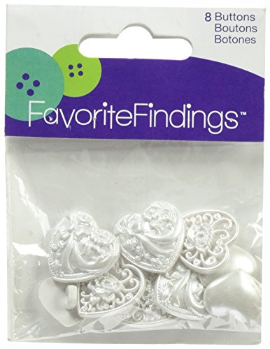 Blumenthal Lansing Favorite Findings Buttons, Victorian Hearts, 8/Pkg
