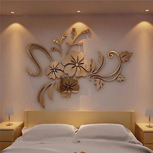 IEason Wall Sticker Clearance Sale! 3D Mirror Floral Art Removable Wall Sticker Acrylic Mural Decal Home Room Decor (Gold)