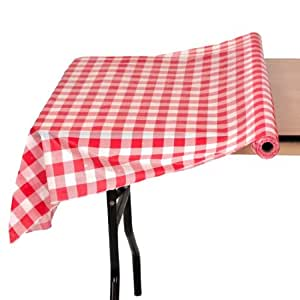 40In x 100Ft Roll Plastic Table Cover Red and White