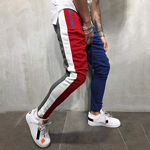 Hunzed Men【Solid Color Zipper Pocket Sweatpants】 Mens Athletic Running Sport Jogger Pants