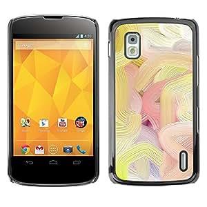 TopCaseStore / la caja del caucho duro de la cubierta de protección de la piel - Lines Paint Art Oil Colors Spring - LG Google Nexus 4 E960