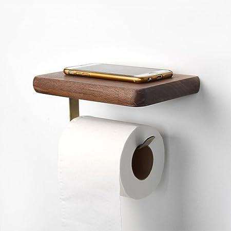 Spirella WC RollenhalterTarek Bambus Toilettenpapierhalter Klopapierhalter mit Smartphone Ablage zum kleben oder bohren Wei/ß