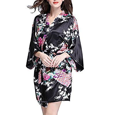 Women Vintage Peacock Print Short Sleeve Silk Sexy Lace Up Robe Thin Loose Nightdress