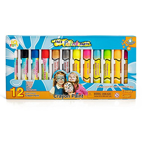 IQ Toys Face Paint- Safe and Non Toxic Twist Up Crayons; Easy to Apply and Wash Off, 12 Colors