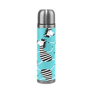 ALAZA Dancing Zebra Doble pared aislado al vacío botella de agua de acero inoxidable a prueba