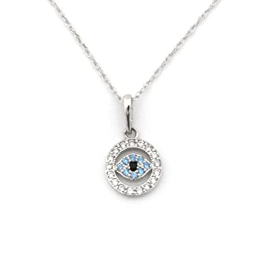 Amazon 14k white gold cz cubic zirconia evil eye pendant 14k white gold cz cubic zirconia evil eye pendant necklace pendant only aloadofball Image collections