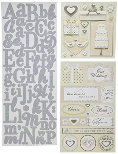 K&Company Scrapbook Kit Flip Pack Sticker Embellishments, Wedding
