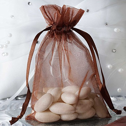 - BalsaCircle 50 pcs 4x6-Inch Chocolate Brown Organza Drawstring Bags - Wedding Party Favors Jewelry Pouch Candy Gift Bags