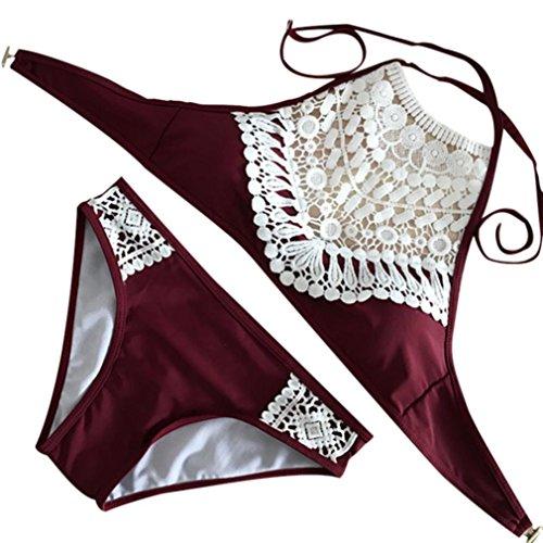 Swimwear Two Piece, Rain Sexy Women Sandy Beach Lace Push-up Padded Bra Bikini Tankini Set Swimsuit Beachwear (Wine, M) (Skort Vintage)