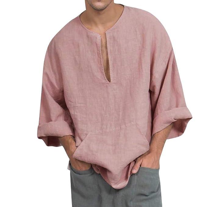 Amazon.com: Hunputa - Blusa para hombre, de lino y algodón ...
