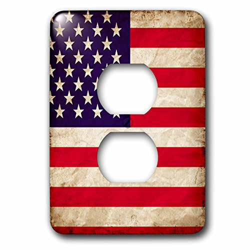 3D Rose lsp_255816_6 USA American Flag Stars and Stripes Old Look Trendy Work 2 Plug Outlet Cover by 3D Rose
