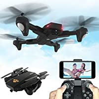 Hot sale! XS809HW Quadcopter Drone,Wifi FPV 2.4G 4CH 6 Axis Altitude Hold Function Remote Control Drone with 720P HD 2MP Camera Drone RC Toy Foldable Drone by Sunfei (3 Battery)