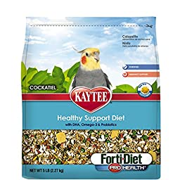 Kaytee Forti Diet Pro Health Bird Food with Safflower for Cockatiels, 5-Pound Bag