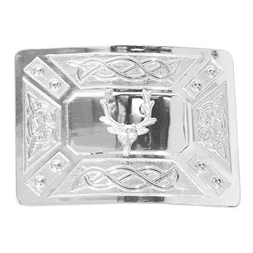 (Solid Steel Traditional Stag with Zoomorphic Celtic Knot Kilt Buckle in a Highly Polished Chrome Finish)