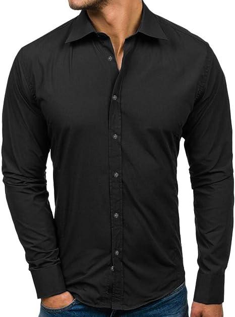 MUMU-001 Camisa de Manga Larga de Color Caramelo de Moda para Hombre Primavera Otoño de Manga Larga Cuello Vuelto Ropa de Abrigo Ropa de Hombre: Amazon.es: Deportes y aire libre