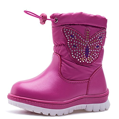 Kid's Winter Waterproof Outdoor Snow Boot with Fur Lined Rose