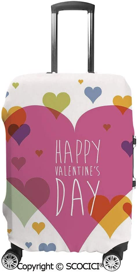 SCOCICI Happy Valentine Day Quote Love Romance Theme Abstract Image with Heart Luggage Case Protective Baggage Suitcase Cover for 19-32 Luggage