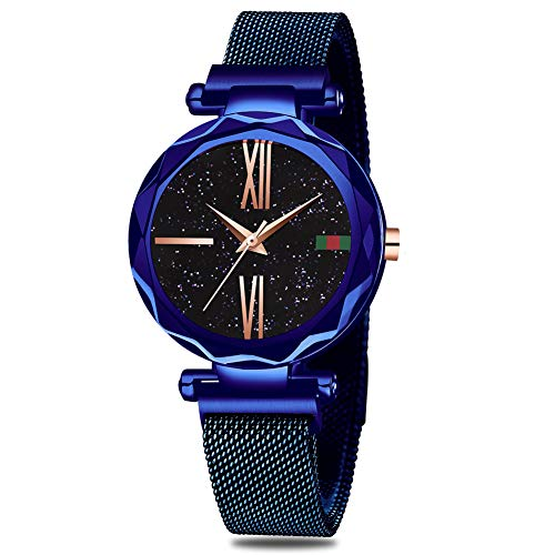 Women's Watch,SUNKTA Fashion Casual Analog Quartz Mesh Wrist Watch Simple Style Starry Sky dial Waterproof Clock Dress for Girls Blue