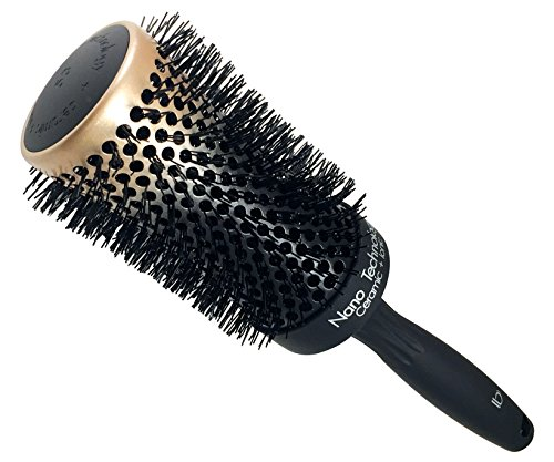 Round Ceramic Ionic Nano Technology Extra Large Hair Brush by Better Beauty Products, XL/2 inch/53mm Barrel with Nylon Bristles, Professional Salon Brush, Black with Metallic Gold