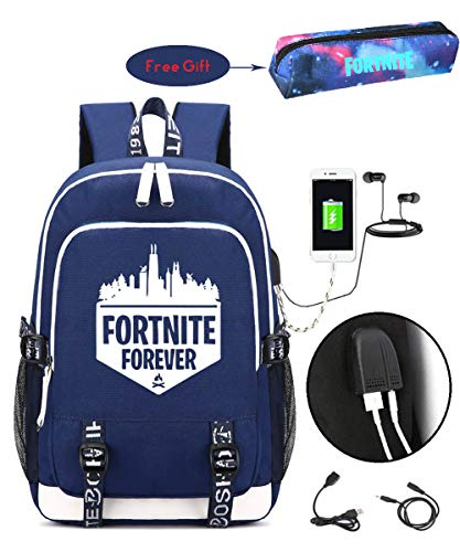 Price comparison product image Fortnite Backpacks For Boys,  Battle Royale School Book Bag For Teens with USB Charging Port (Blue-1)