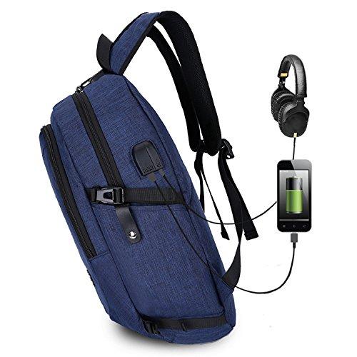 WinCret 15,6 Zoll Diebstahlschutz Laptop Rucksack - Anti-Diebstahl Lock Studenten Backpack mit USB Kabel und Anschluss für Damen Herren