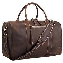 Polare Mens Genuine Leather Duffel Bag Overnight Travel Duffle Weekender Bag 18.3''
