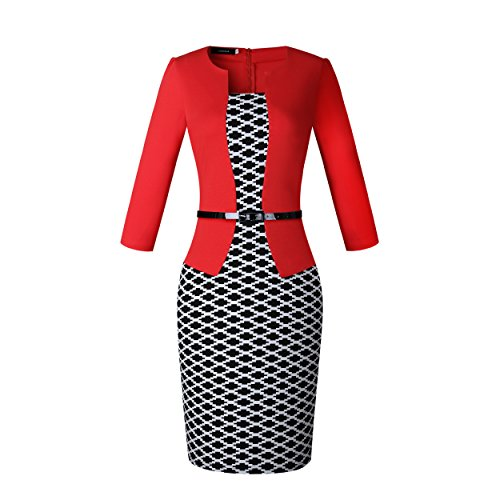 Caracilia Women Wear to Work Business Party Bodycon One-Piece Dress XS/8-4 - Colorblock 2 Piece Dress
