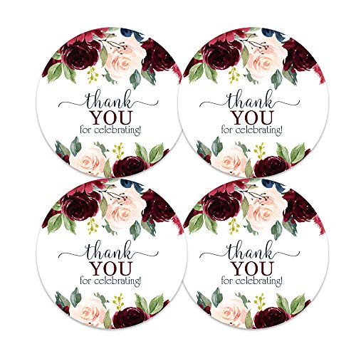 Indigo Floral Stickers for Favors (60 Pack) Rustic Wedding Baby Shower Party Supplies Multiple Use Round Sticky Labels