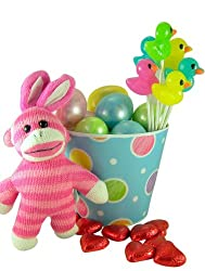 Pink Bunny Ears Sock Monkey Plush Toy in Easter Basket with Eggs and Assorted Candy