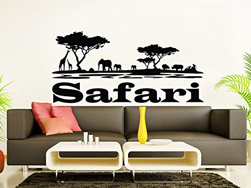 Cheap  Safari Wall Decal Animals Jungle Safari African Tree Animals Jungle Giraffe Elephant..