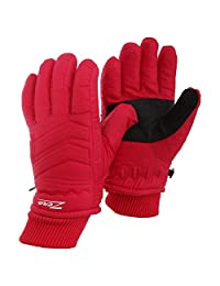 Childrens/Kids Zero Waterproof Hollofil Ski Gloves With Palm Grip (Medium) (Red)