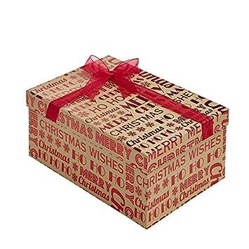 Merry Christmas Kraft Rectangular Christmas Gift Boxes Small 18cm