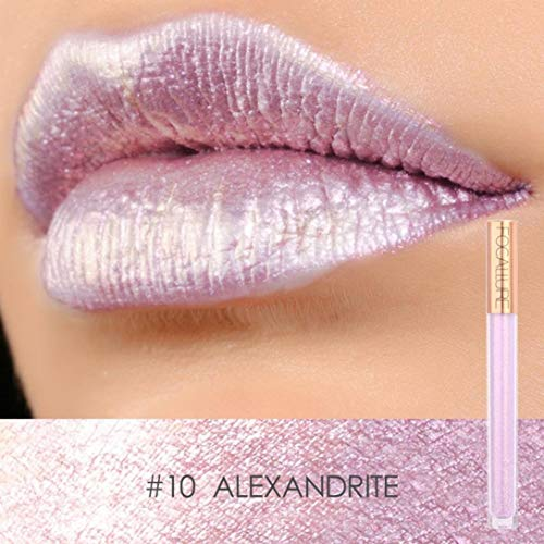 XEDUO FOCALLURE New Fashion Lip Lingerie Metallic Lipstick Moisturizing Long-Lasting Sexy Lip Gloss Makeup or Women (10#)