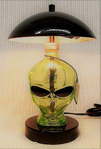 Price comparison product image Outer Space Vodka Alien Head Skull Green Glass Bottle Touch Desk Lamp