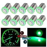 CCIYU 10 Pack Green BA9S 1-5050-SMD LED SMD 1895 Dash Instrument Panel Cluster Ash Tray Light Bulbs For Dashboard Gauge cluster Speedometer Odometer Map Light
