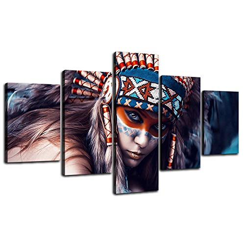 (Yatsen Bridge 5 Panel American Indians Girl Painting Wall Art Prints and Poster Pictures for Living Room Home Decor Canvas Artworks Stretched and Framed Ready to Hang for House(70''W x 40''H))