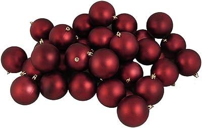 "Northlight 12ct Matte Burgundy Red Shatterproof Christmas Ball Ornaments 4"" (100mm)"