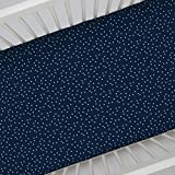 Carter's 100% Cotton Sateen Fitted Crib Sheet - Navy with White Stars, Navy, White