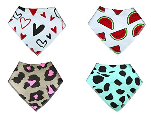 KodaBear-Signature-Pet-Dog-Bandana-Scarf-4-Pack-Triangle-Bib-Kerchief-for-SmallMediumLarge-Dogs-Buttons-Up-Machine-Washable-Soft-Cotton-Material