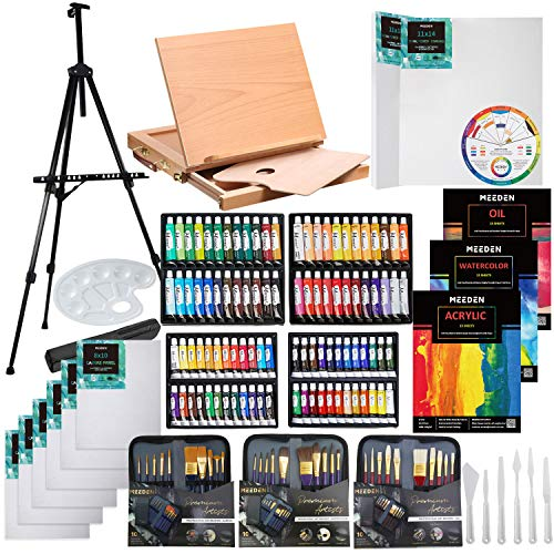 MEEDEN 148-Piece Deluxe Artist Painting Set with Aluminum and Solid Beech Wood Easel, Paint, Stretched Canvas and Accessories, Great Gift for Artists, Beginner & Adults