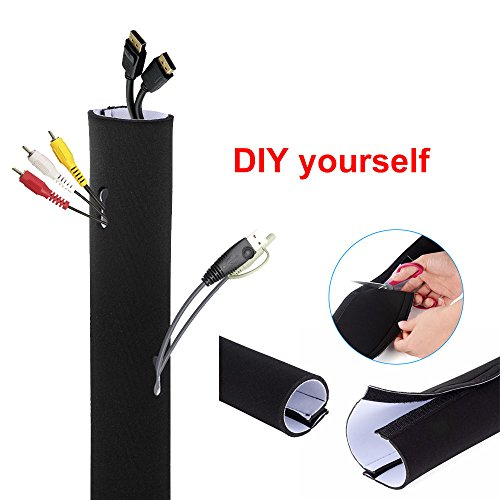 cable management sleeve muzata cord organizer management system for tv pc home. Black Bedroom Furniture Sets. Home Design Ideas