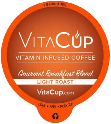 VitaCup Essential Vitamins, Coffee and Tea With Essential Vitamins in Single Serve Keurig Compatible Pods (Gourmet Breakfast Blend, 16ct)