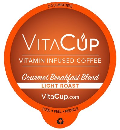 VitaCup Top Rated Coffee Cups Infused With Essential Vitamins B12, B9, B6, B5, B1, D3 in Single Serve Keurig Compatible K Pods (Gourmet Breakfast, - Coffee Infused