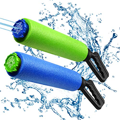 2 Pack Super Water Gun Water Soaker Blaster 5 Nozzles Safe Foam Noodles Pump Kids Pool Toys Summer Outdoor Swimming Pool Games Beach Sand Water Fighting Toy for Boys Girls Adults ()