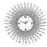 Generico fgjxfq–@ stile moderno orologio Sunburst con cristalli, misura grande 60cm Enorme in metallo decorazione da parete tempo orologio da parete in metallo e vetro